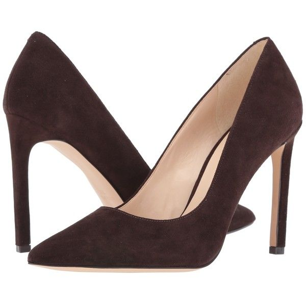 Nine West Tatiana (Dark Brown Suede 1) High Heels ($79) ❤ liked on Polyvore featuring shoes, pumps, heels, suede slip on shoes, slip-on shoes, nine west shoes, slip on shoes and high heel court shoes