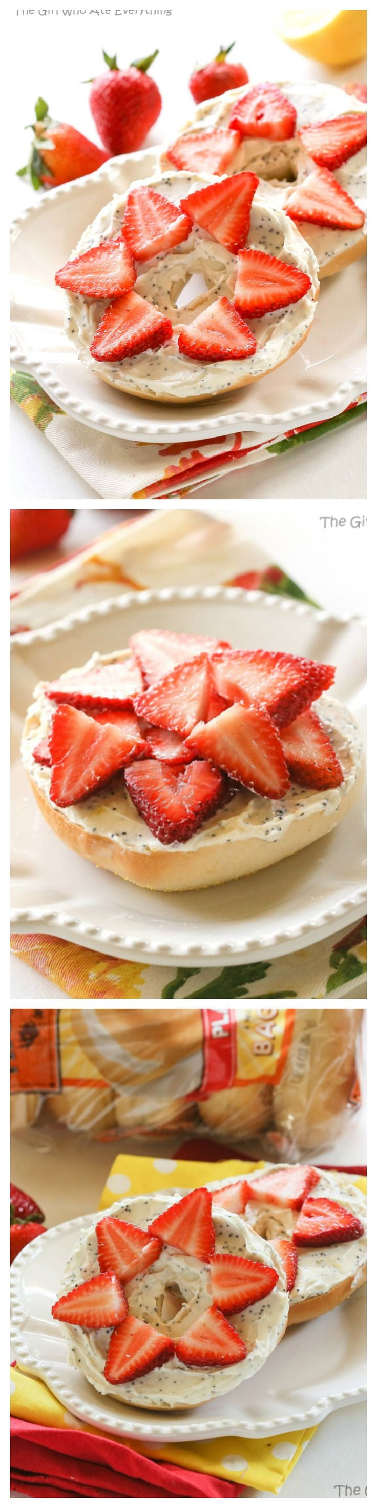 This Strawberry Lemon Poppy Seed Bagel is covered in cream cheese that has been flavored with lemon juice, almond, and poppy seeds. the-girl-who-ate-everything.com