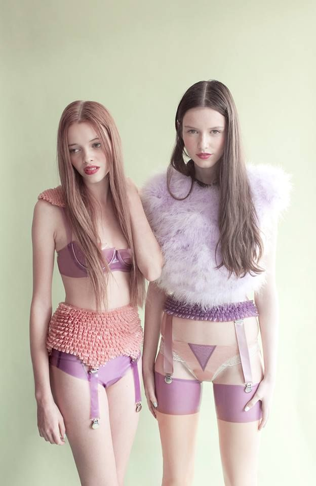 no designer cited here unfortunately :( interesting pieces in lilac, lingerie