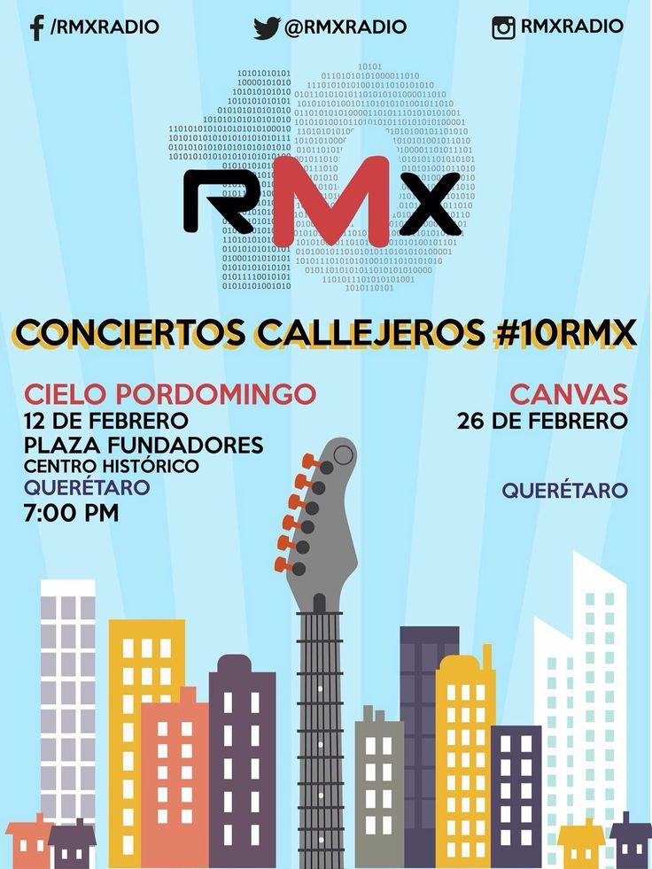 Cielo Pordomingo se presentará gratis el viernes 12 y Canvas el viernes 26 de febrero en #Querétaro, como parte de los Conciertos Callejeros #10RMX.