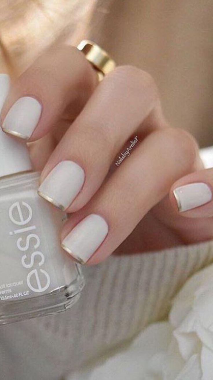 Essie Marshmallow + Essie Good as Gold tip