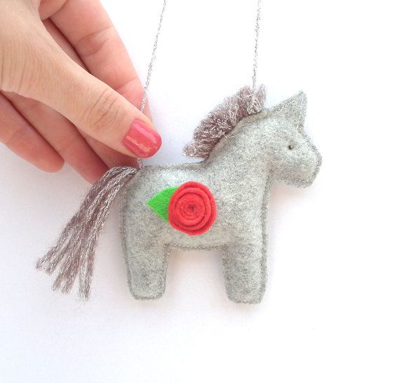 Stuffed horse plush toy. Mobile toy. Handmade by CherryGardenDolls, $7.30