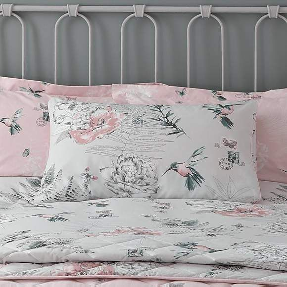 Blush Duvet Cover And Pillowcase Set, Blush Pink And Grey Bedding Dunelm