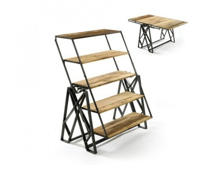 dining table transforms into bookcase and vice versa. although i think it would be a little inconvenient, nice idea.