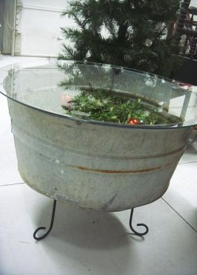 using an old window as a top for a galvanized tub the finished wash tub