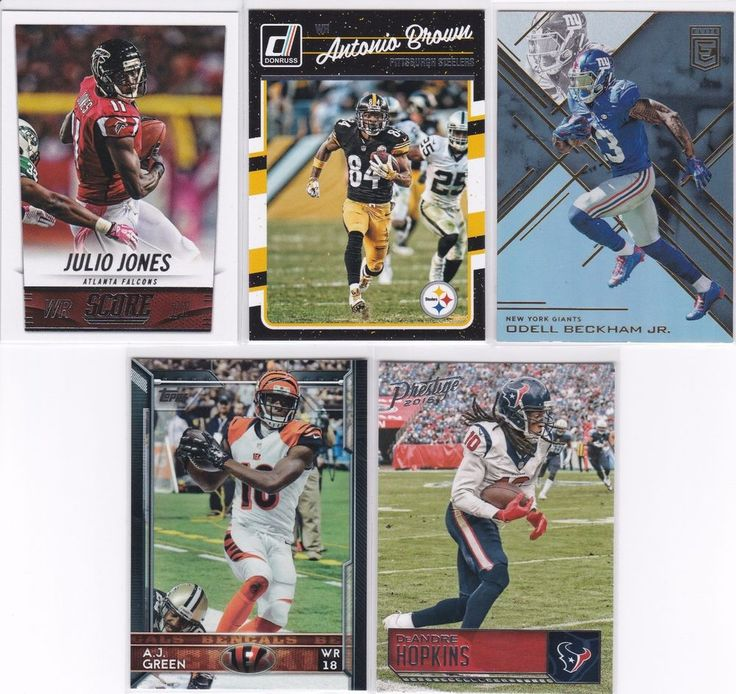 NFL Wide Receivers Antonio Brown, Julio Jones, Odell Beckham Jr & more card lot #VARIOUS
