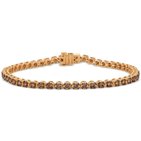 Le Vian Chocolatier Diamond Tennis Bracelet (2-3/4 ct. t.w.) in 14k... (€3.645) ❤ liked on Polyvore featuring jewelry, bracelets, rose gold, 14k rose gold jewelry, diamond bangles, diamond jewelry, tennis bracelet and rose gold bangle