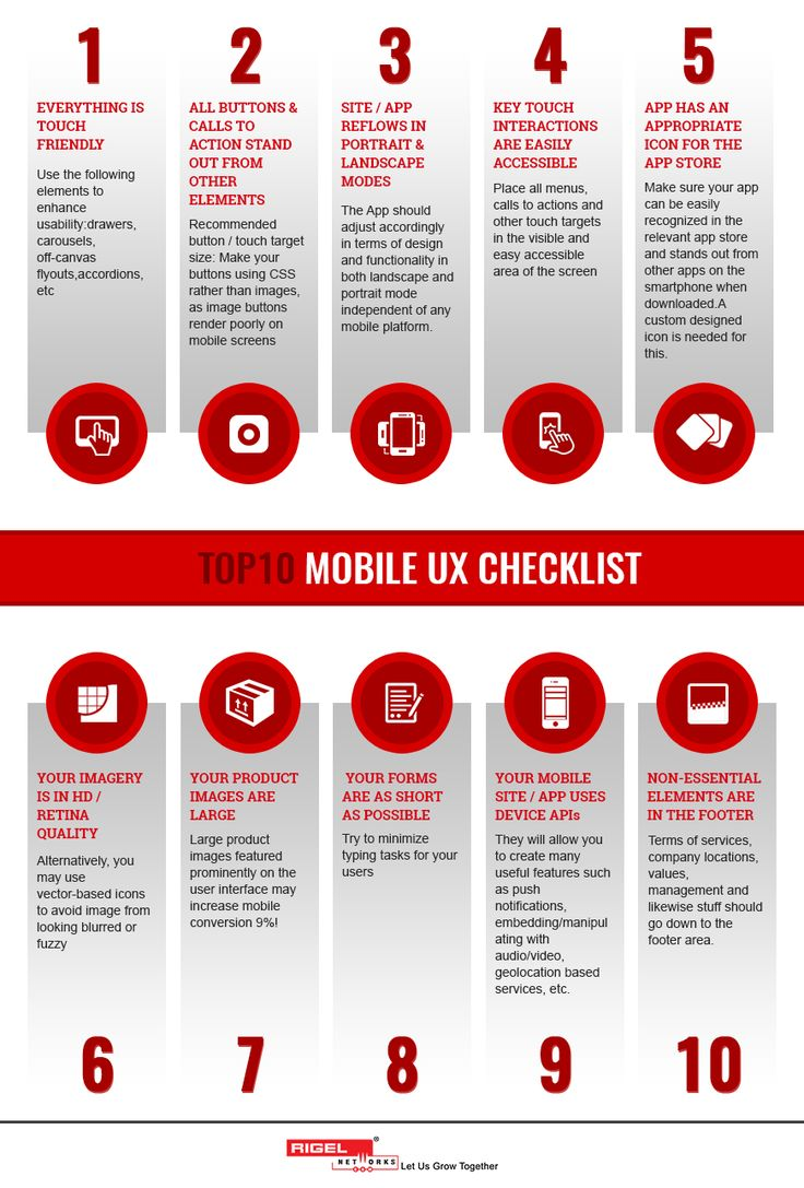 Basic Requirement for providing perfect UX is to meet the needs of the Customer, without any fuss or hitch. Here's Mobile UX checklist by Rigel Networks that will be beneficial in providing better customer experience to your Users