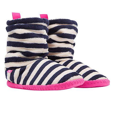 Buy Joules Fluffy Stripe Print Slipper Socks, Navy/Cream Online at johnlewis.com