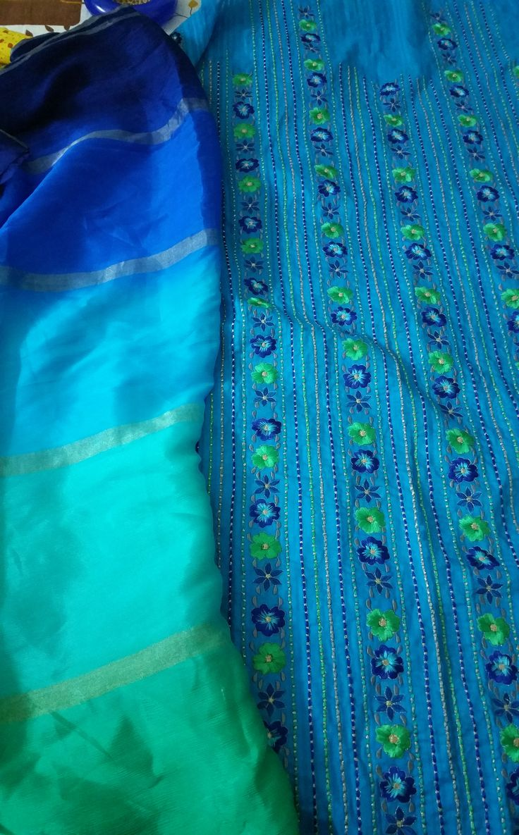 Machine Embroidered Suit in Blue Color, With Pure Chinon Chiffon Dupatta