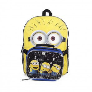 Despicable Me The Minions School Backpack and Lunch Bag Kit for Kids - 16 Inches $39.99 www.mundyshops.com Ideal for the Despicable Me fan in the house comes this adorable Minions backpack and lunch bag. Backpack measures approximately 16 inches and features adjustable back straps and side pockets. Lunch bag is fully insulated.