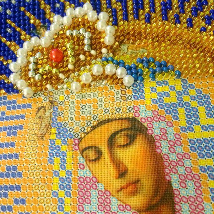 """Богородица Остробрамская в процессе отшива. Икона бисером. Вышита по набору фирмы """"Кроше""""."""