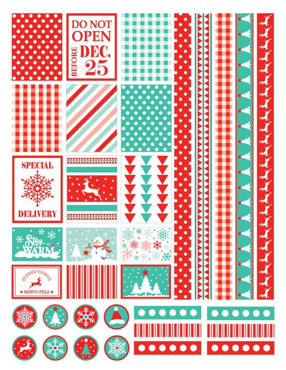 Digital Download Stickers This is a digital download assortment of planner stickers. Use to decorate your planner for the Christmas and
