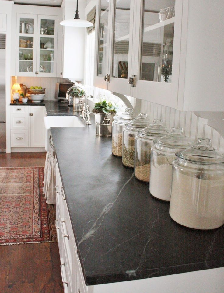 If your kitchen lacks storage, your counter will feel the brunt of the problem. So choose pretty containers, like Mason jars, when you have to devote visible space to food.