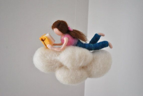 Cloud Mobile Room Decor needle felted : Girl or Boy reading a book.Made to Order