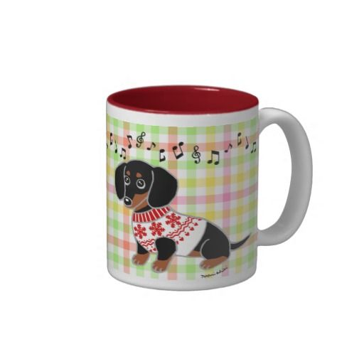 Black and Tan Dachshund Cute Eyes for Doxie Lovers!  Super cute Dachshund Puppy Cartoon Mug.  #dachshund #doxie #cute #dog #gifts
