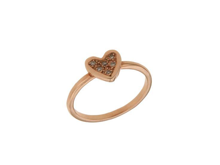 Δαχτυλίδι καρδιά σε Ροζ χρυσό 18Κ με διαμάντια 28560