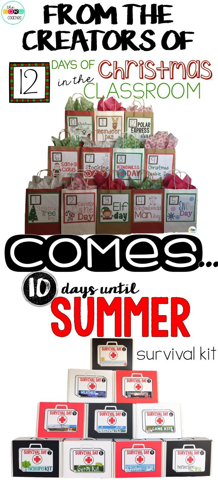 Perfect end of year lesson plans that help kids countdown to summer. Review grade level skills all while having a blast during the last 10 days of school! Kit includes Reading, Writing, Math, Science or STEM, and Art for every daily theme.