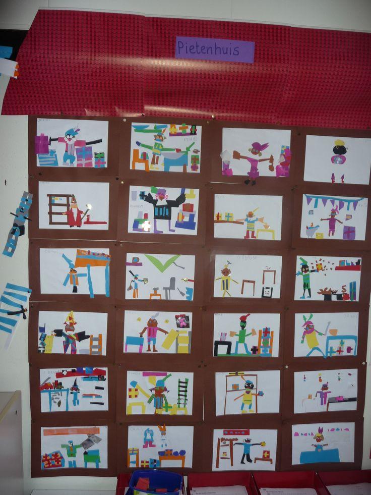Het grote Pietenhuis. Iedere leerling heeft de inhoud van een kamer getekend, met elkaar is het een heel groepswerk geworden.