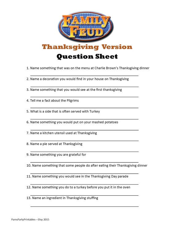 Looking for an activity Thanksgiving this year? This THANKSGIVING FAMILY FEUD game is a perfect addition to a November birthday game or Thanksgiving day with the family. Poll your guests ahead of time with a separate question sheet (included). Tally the answers on the Host Answer Sheet, create a simple game board on a dry erase or poster board (example included) and you are ready to play. The INSTANT DOWNLOAD game includes 25 questions in a separate PDF for emailing ahead of party day…