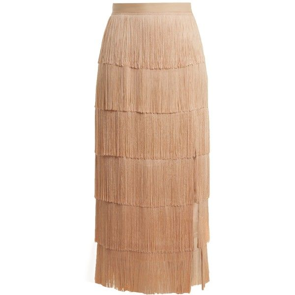 Raey Slit-front fringed silk midi skirt ($535) ❤ liked on Polyvore featuring skirts, nude, high waisted skirts, mid-calf skirts, front slit skirt, midi skirts and nude skirt