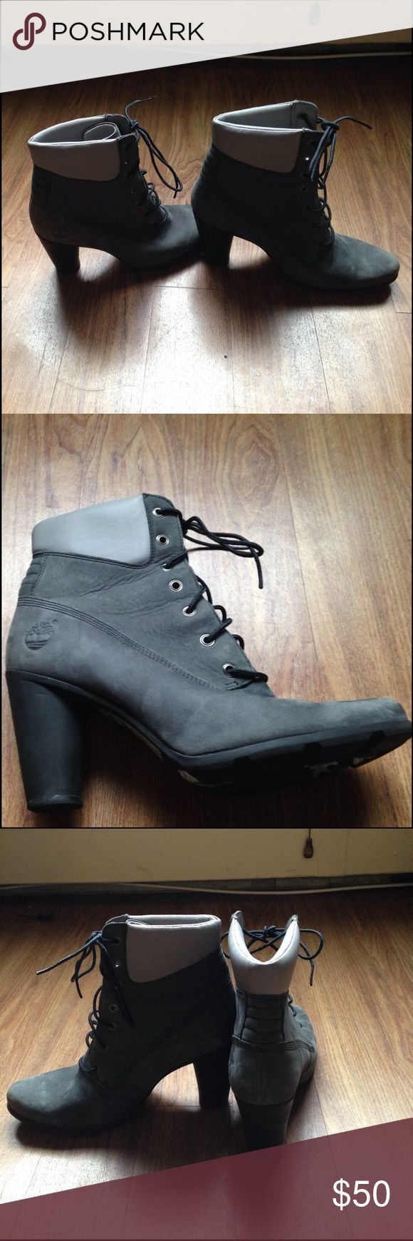 Timberland high heel boots Grey suede timberland chunk heel boots. Size 71/2 gently worn Timberland Shoes Ankle Boots & Booties