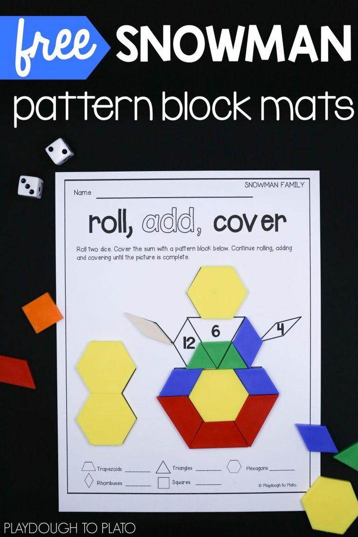 Free snowman pattern block mats! Fun winter math center or shape activity for preschool, kindergarten or even first grade.