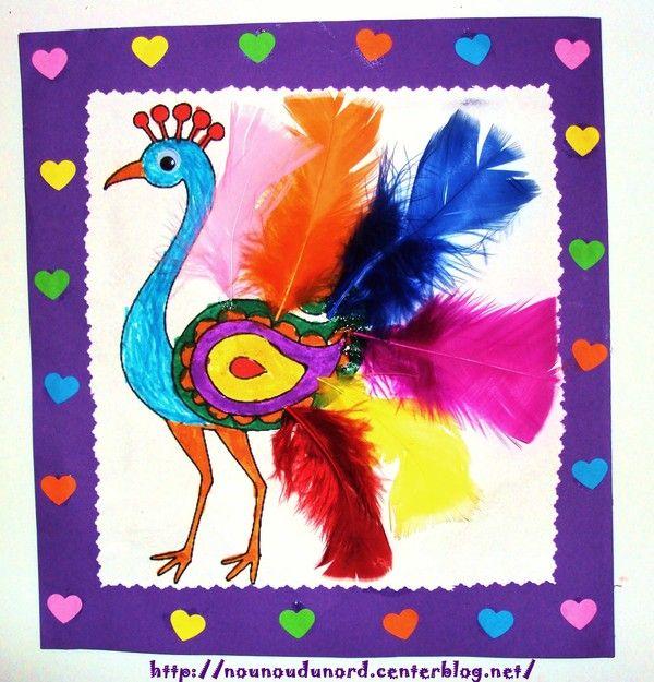 Paon avec aux jolies plumes colorées réalisé par Axelle 5 ans,