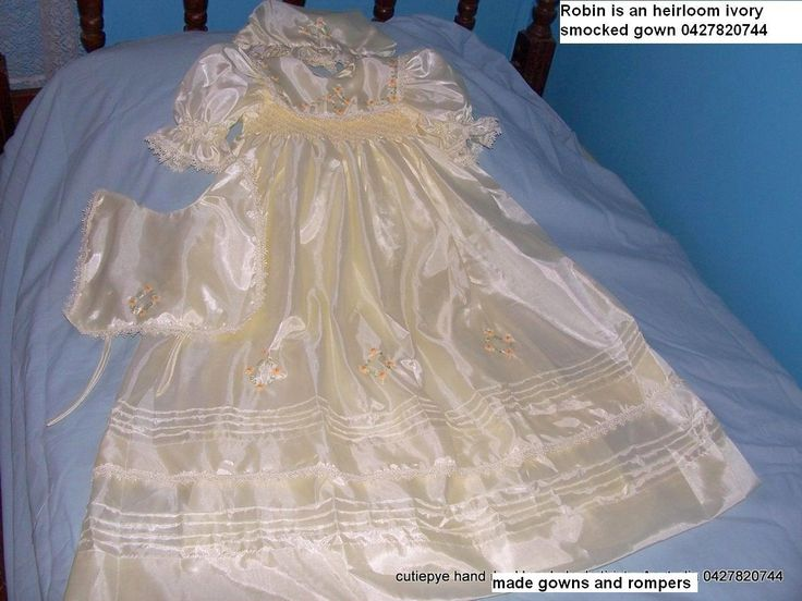 robin is an ivory japanese soft silk gown with hat and bib 0427820744