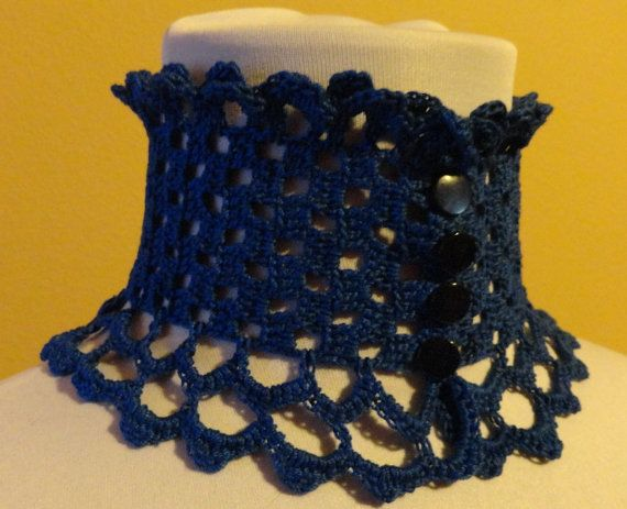 Royal Blue Lace Crochet Victorian Edwardian by Scarletrabbit