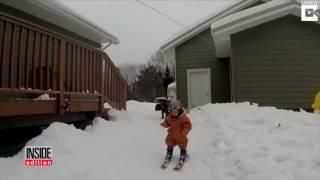 Oh Baby! 1-Year-Old Who Learned To Walk 2 Weeks Ago Is Slaying It on Skis