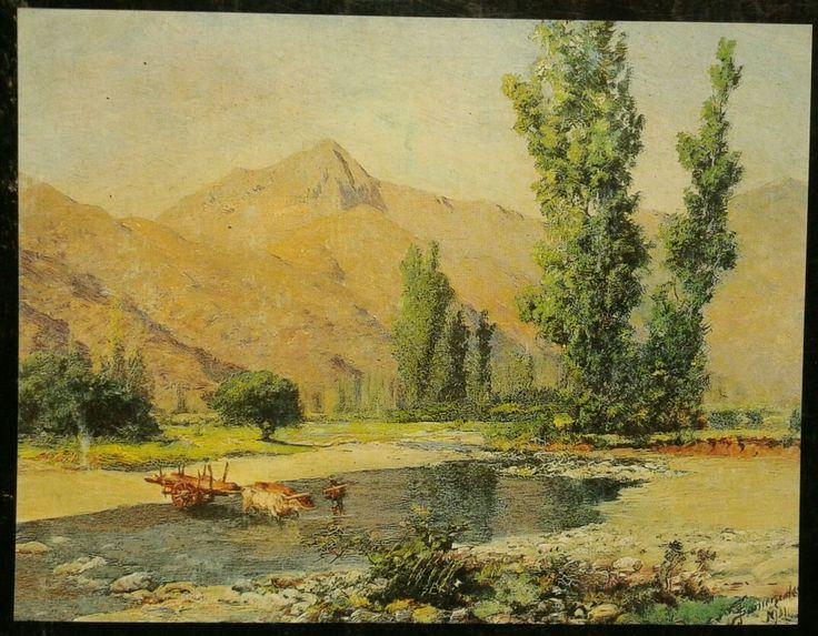 Thomas Somerscales. Carreta de bueyes cruzando el río.