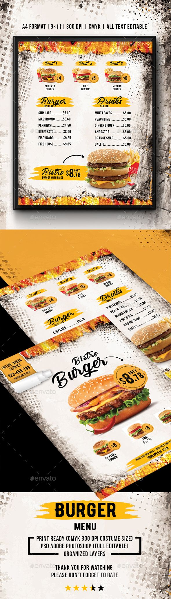 Burger Bistro Menu — Photoshop PSD #fast food #meat • Available here ➝ https://graphicriver.net/item/burger-bistro-menu/20937981?ref=pxcr