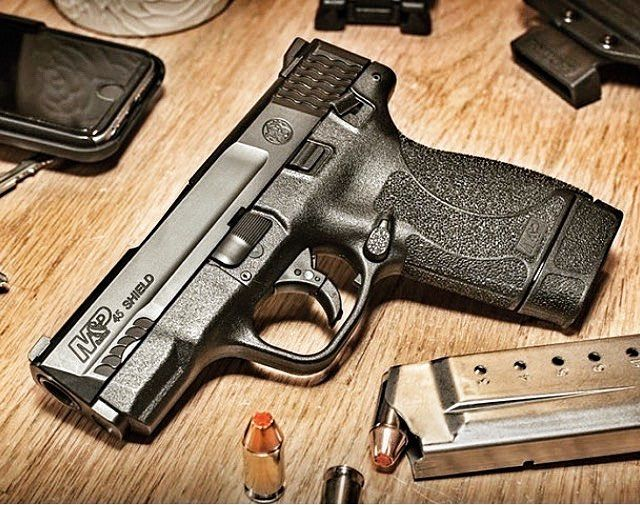 Some people were giving the new M&P Shield in .45 a lot of crap! I think it's awesome! Slim compact .45s are really fun to shoot! I love my 9mm shield so this one is next on my list for sure. And if you compare the specs to the 9mm version the 45 is barely larger. Save those thumbs & bucks w/ free shipping on this magloader, Magazine loader Speedloader http://www.amazon.com/shops/raeind