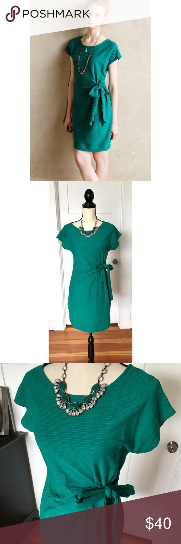 🎉HP🎉 Anthropologie Side Tie Dress Green/teal short sleeve dress with side tie. Very flattering! Only worn once! From Anthropologie, Saturday Sunday brand. Anthropologie Dresses Mini