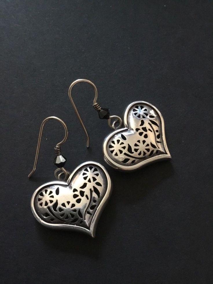 BRIGHTON Earrings VALENTINE California Garden Silver Pierced Heart  #Brighton #Earring