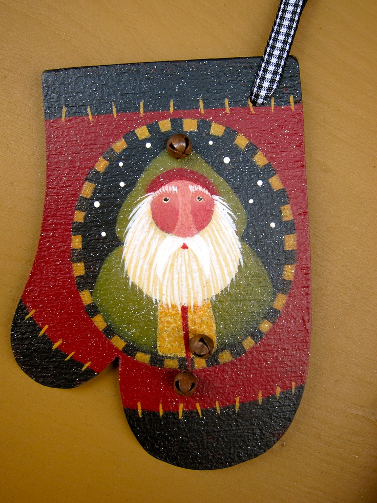 Cute little mitten ornament pattern embellished with tiny rusty bells. Paint 'em up for all your friends!