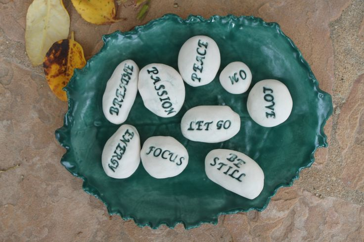 Meditation Stones message stones ceramic worry stone pocket stone yoga gift meditation bowl inspirational gift pebbles spiritual word stone by ManuelaMarinoCeramic on Etsy