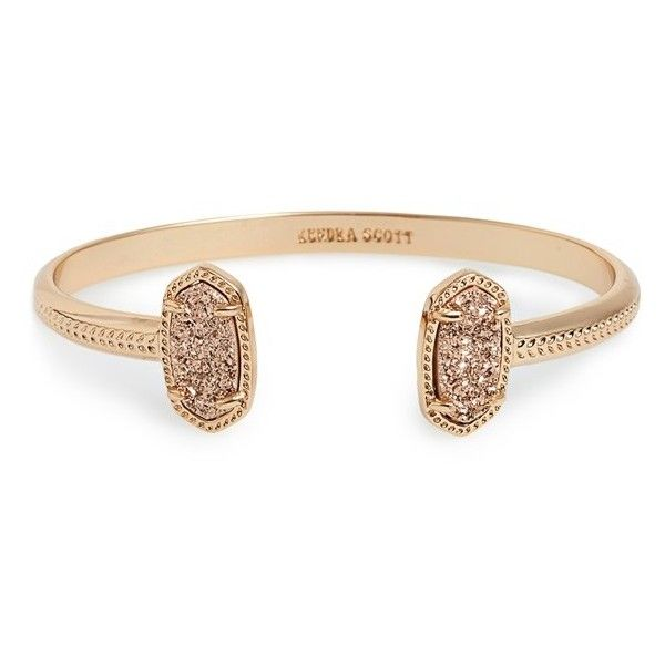 Kendra Scott 'Elton' Station Cuff Bracelet ($55) ❤ liked on Polyvore featuring jewelry, bracelets, 14k bangle, cuff bracelet, stackable bangles, white cuff bracelet and cuff bangle