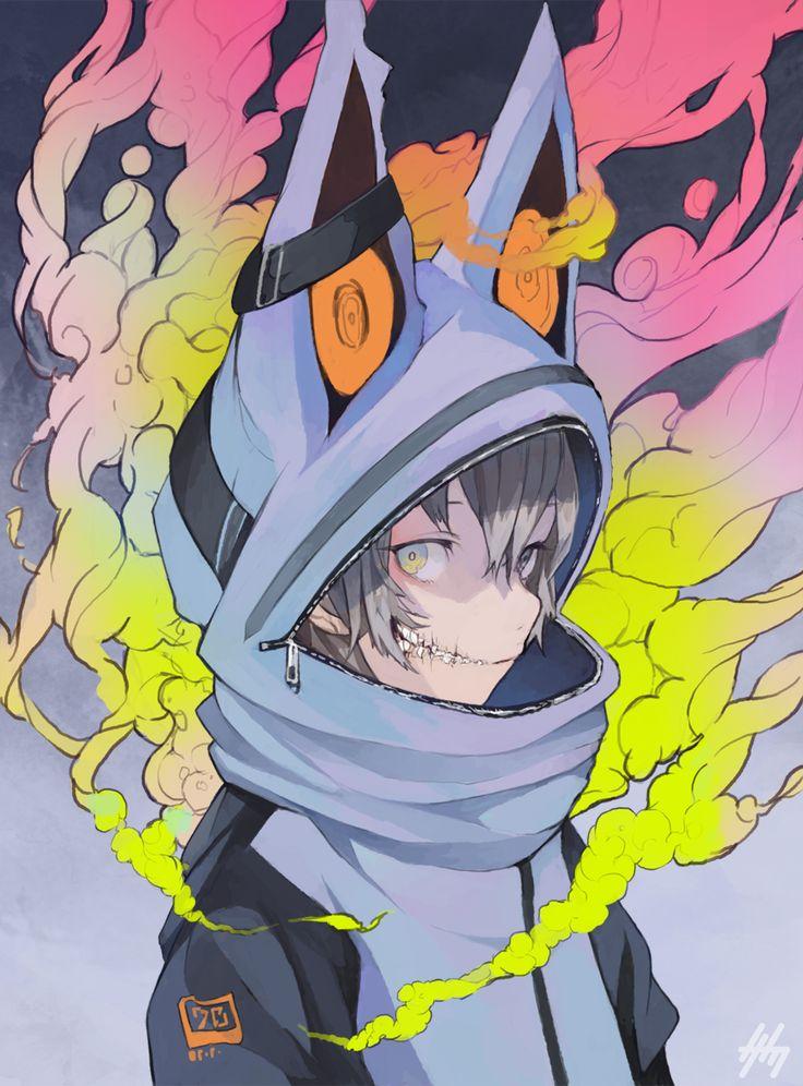 1boy animal_ears grey_hair highres hoodie nanakawa_(nanasoon) original pale_skin short_hair side_glance smoke solo tagme zipper