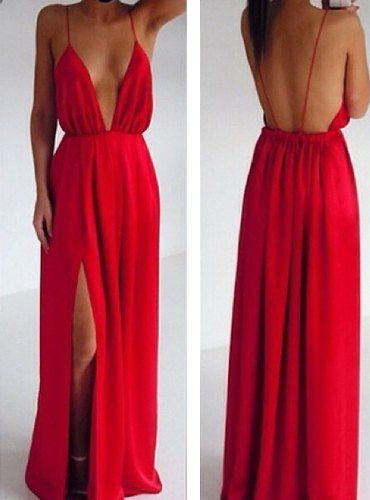 $10.77 Sexy Backless Sleeveless Plunging Neck Red Color Slit Side Design Spaghetti Strap Dress For Women