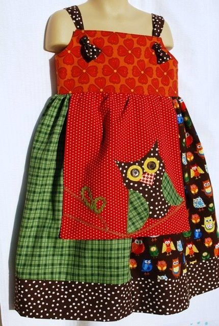 Owl Apron Knot Dress - love the vintage look of the fabric