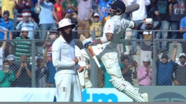 Wankhede celebrates as Virat Kohli brings up his 15th Test ton. This has been a batting masterclass from #TeamIndia skipper #INDvENG