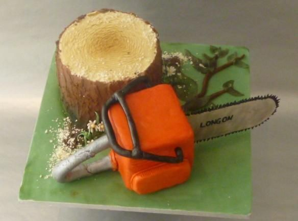 Tree Surgeon's birthday cake / at least they use chainsaws only to improve the tree's health ( unlike lumberjacks )