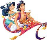 Animated Aladin Alphabet.  Alfabeto animado de Aladino y Jasmine sobre alfombra mágica.