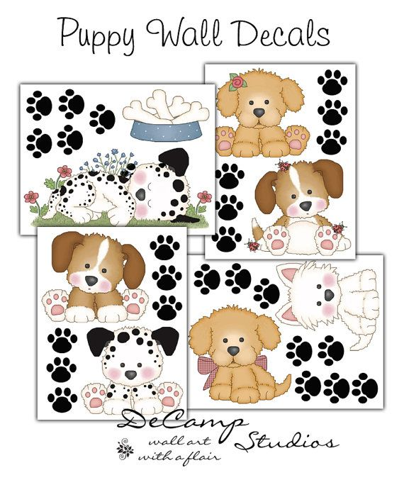 Puppy Dog Wall Decals for baby boy or girl nursery and childrens room decor. Bright, vivid colors. Beautiful and unique. One purchase is for one