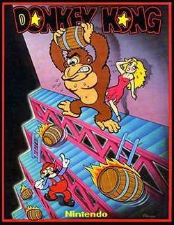 Donkey Kong is an arcade game released by Nintendo in Vintage Video Games, Classic Video Games, Retro Video Games, Video Game Posters, Video Game Art, Super Mario Bros, Donkey Kong Games, Bartop Arcade, Retro Arcade Games