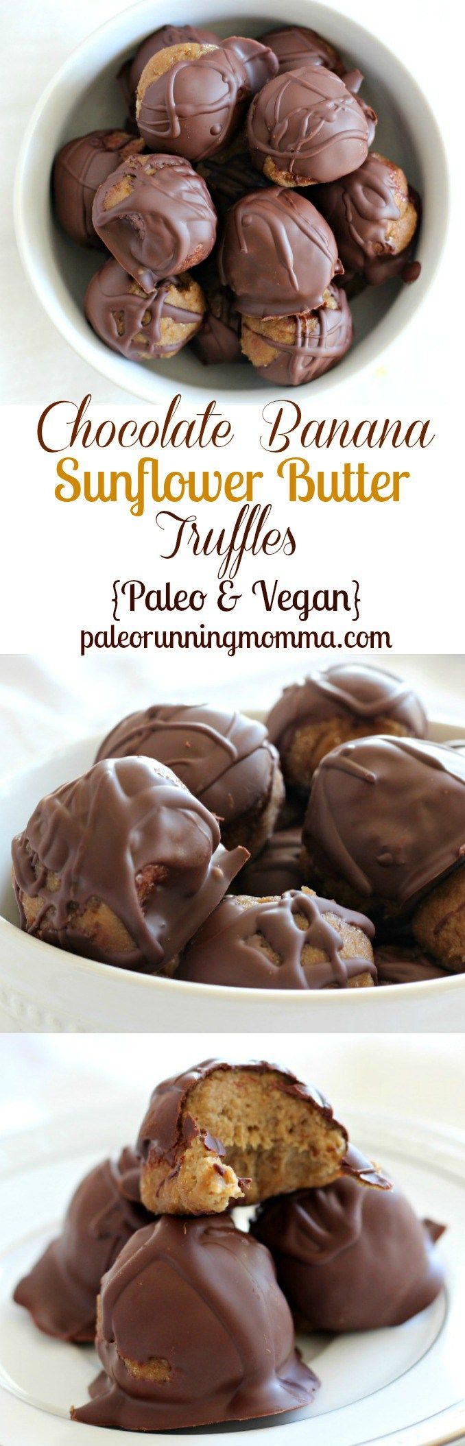 Chocolate Banana Sunflower Butter Truffles - Dark chocolate dipped. Maybe I'll substitute these for my grandma's choco pb balls some day! #chocolate #peanutbutter #goodness