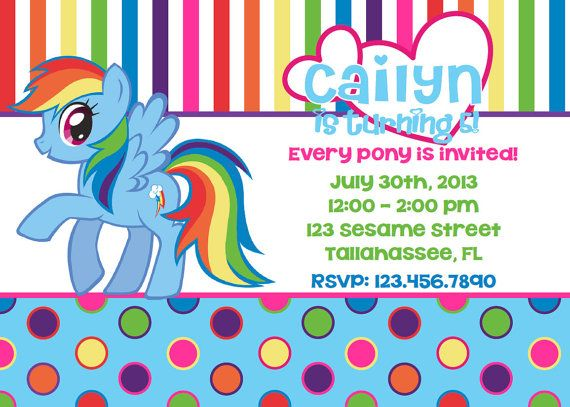 My Little Pony Rainbow Dash Inspired Printable Birthday Invitation On Etsy 1095