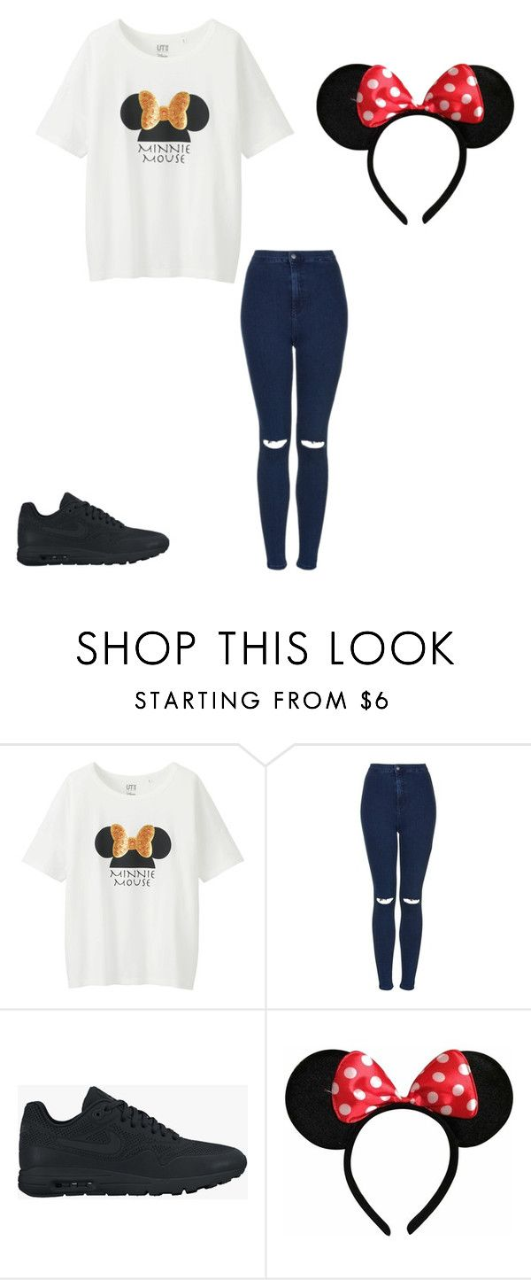"""Disney world outfit"" by sarahmae-2307 ❤ liked on Polyvore featuring Uniqlo, Topshop, NIKE and Disney"